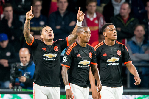 memphis depay ashley young anthony martial manchester united